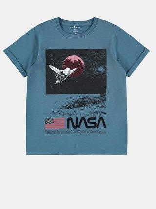 Modré chlapčenské tričko s potlačou name it Nasa