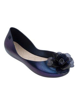Zaxy modré metalické baleríny s květinou na špičce