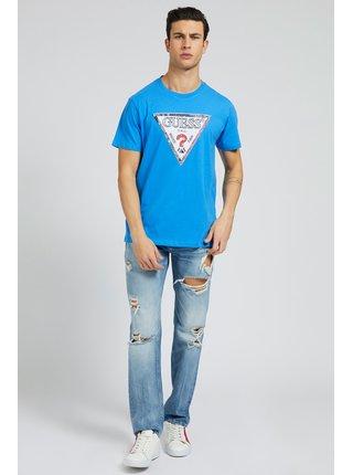 Guess modré pánske tričko Triesley Triangle Logo