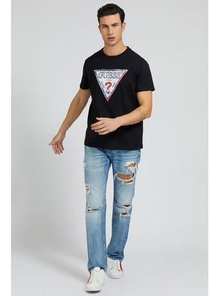Guess černé pánské tričko Triesley Triangle Logo