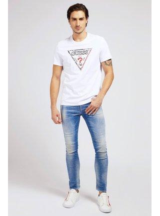 Guess biele pánske tričko Triesley Triangle Logo