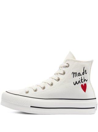 Converse biele členkové tenisky na platforme Valentine's Day Platform Chuck Taylor All Star
