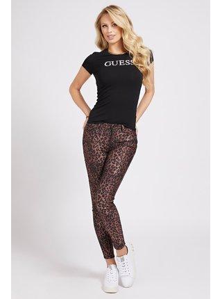 Guess čierne tričko Glitter Front Logo