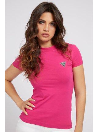 Guess růžové tričko Triangle Logo