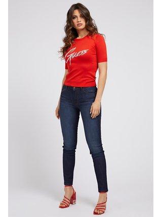 Guess červené svetrové tričko Triangle Logo