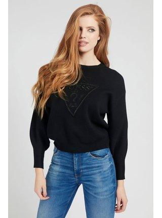 Guess čierne sveter Front Logo Comfort Fit