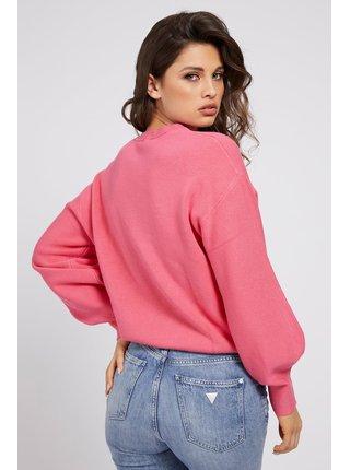 Guess růžový svetr Front Logo Comfort Fit