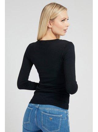 Guess černý svetr Logo V Neck