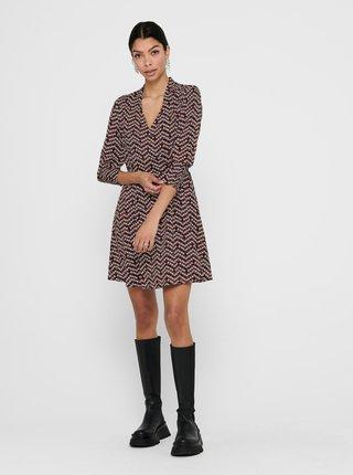 Čierne kvetované zavinovacie šaty ONLY Eleanor