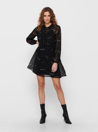 Černé vzorované košilové šaty ONLY Tracy