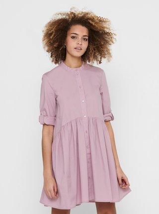 Růžové košilové volné šaty ONLY Chicago