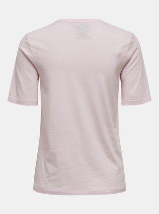 Světle růžové tričko s potiskem ONLY Justice