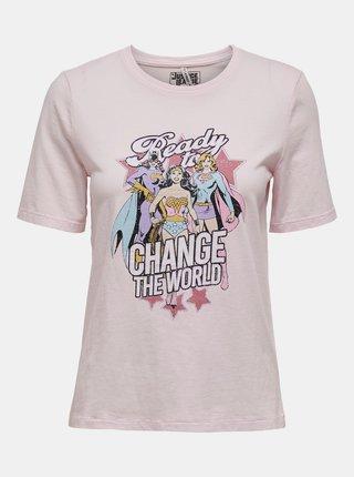 Svetloružové tričko s potlačou ONLY Justice