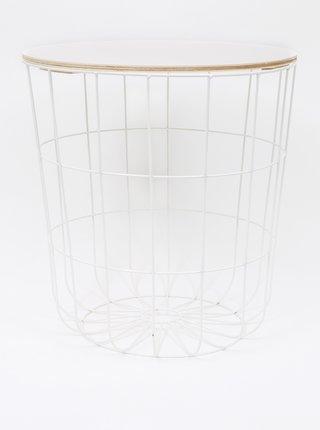 Hnedo-biely odkladací stolík Dakls