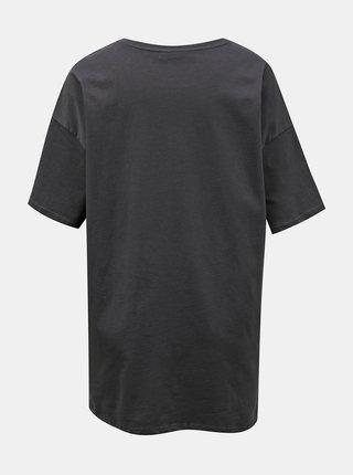 Tmavě šedé dlouhé tričko s potiskem ONLY Happy