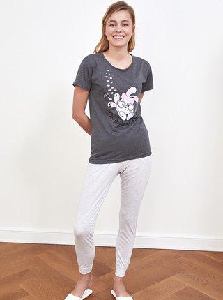 Šedé dámske pyžamo s potlačou Trendyol