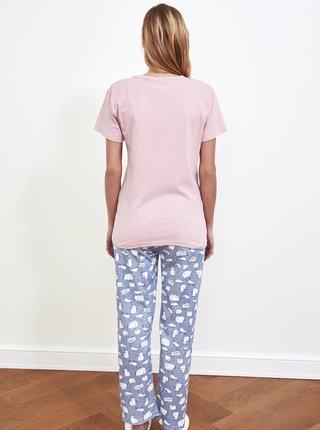 Modro-růžové dámské pyžamo s potiskem Trendyol