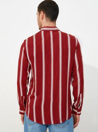 Vínová pánska pruhovaná košeľa Trendyol