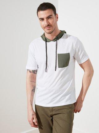 Biele pánske tričko s kapucou Trendyol