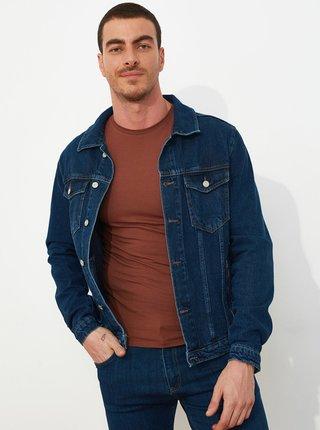 Tmavomodrá pánska rifľová bunda Trendyol