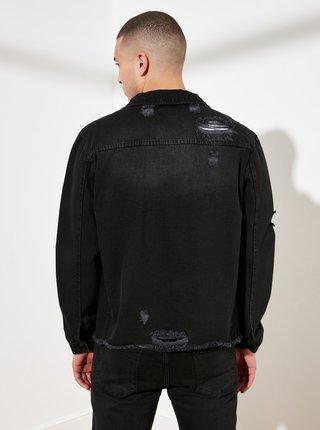 Černá pánská džínová bunda s potrhaným efektem Trendyol