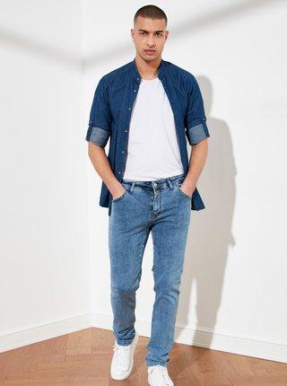 Modré pánské slim fit džíny Trendyol