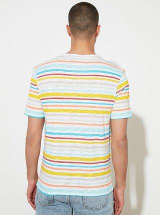 Žlto-biele pánske pruhované tričko Trendyol