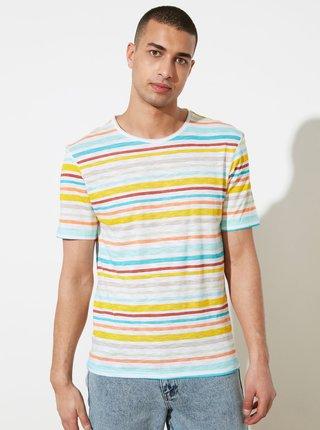 Žluto-bílé pánské pruhované tričko Trendyol