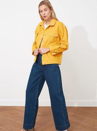 Horčicová dámska voľná rifľová bunda Trendyol