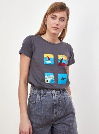 Šedé dámske tričko s potlačou Trendyol