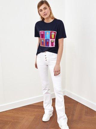 Tmavě modré dámské tričko s potiskem Trendyol