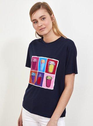 Tmavomodré dámske tričko s potlačou Trendyol