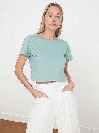 Mentolové dámské krátké tričko Trendyol