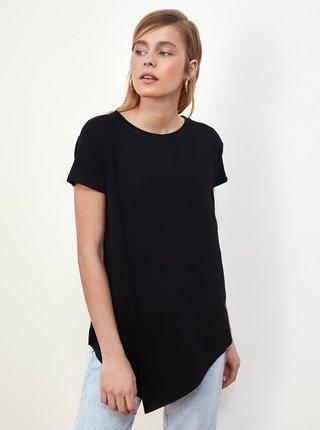 Čierne dámske dlhé asymetrické tričko Trendyol