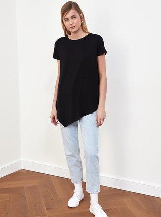 Černé dámské dlouhé asymetrické tričko Trendyol