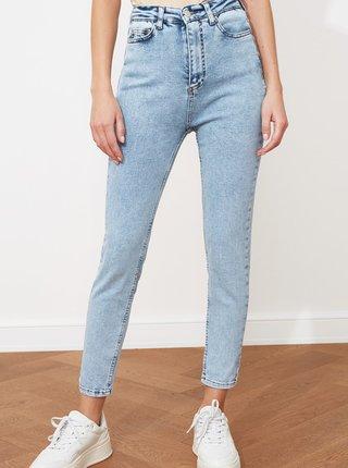 Světle modré dámské zkrácené skinny fit džíny Trendyol