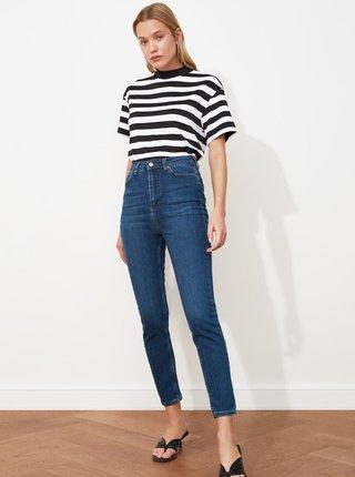 Tmavě modré dámské zkrácené skinny fit džíny Trendyol