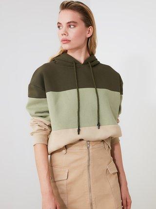 Zelená dámská mikina s kapucí Trendyol