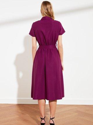 Fialové košeľové šaty so zaväzovaním Trendyol