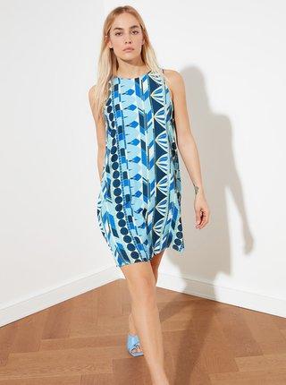 Modré vzorované šaty Trendyol