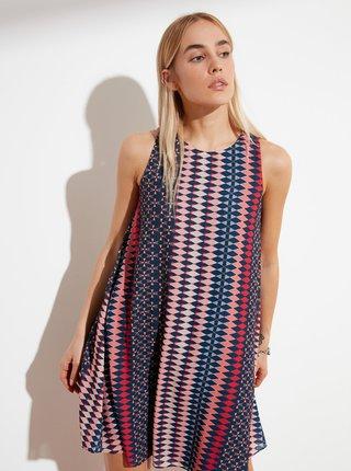 Růžovo-modré vzorované šaty Trendyol