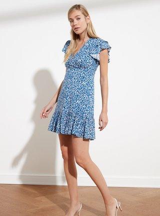 Modré květované šaty s volány Trendyol