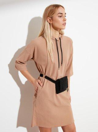 Béžové mikinové šaty s kapucí Trendyol