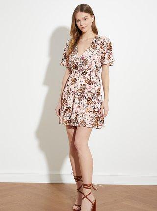 Béžové kvetované šaty Trendyol