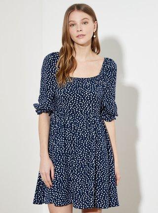Tmavě modré puntíkované šaty Trendyol