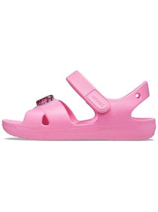Crocs ružové dievčenské sandále Classic Cross Strap Charm Sandal Pink Lemonade