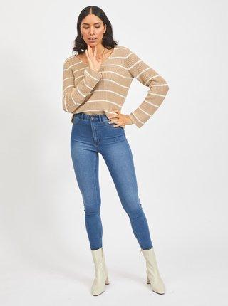 Béžový pruhovaný sveter VILA Rush
