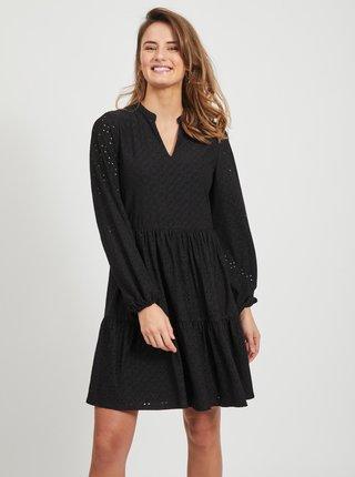 Čierne šaty s madeirou VILA Kawa