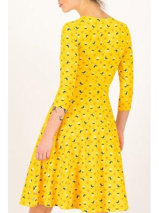 Blutsgeschwister žluté áčkové šaty Cherry Picknick