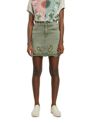 Kaki rifľová sukňa Desigual Fal Billi Jeans